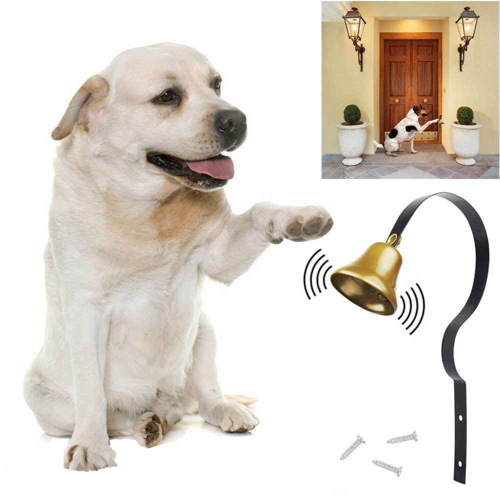 KYC Dog Training Tinkle Bell Metal Adjustable Pet Hanging Brass Doorbell for Doggy Potty Training Housetraining Houserbreaking (Black)