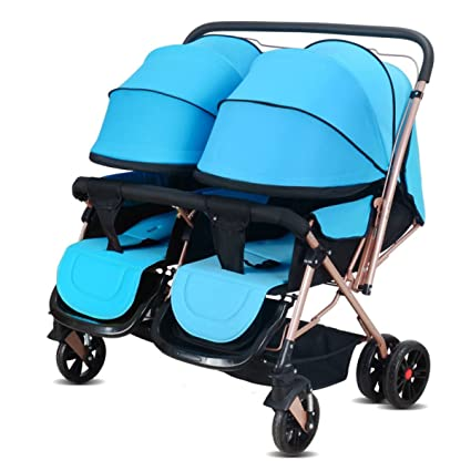 POKWAI Twins Carro De Bebé De Dos Vías De Paseo Puede Estar Tirando De Choques Altos