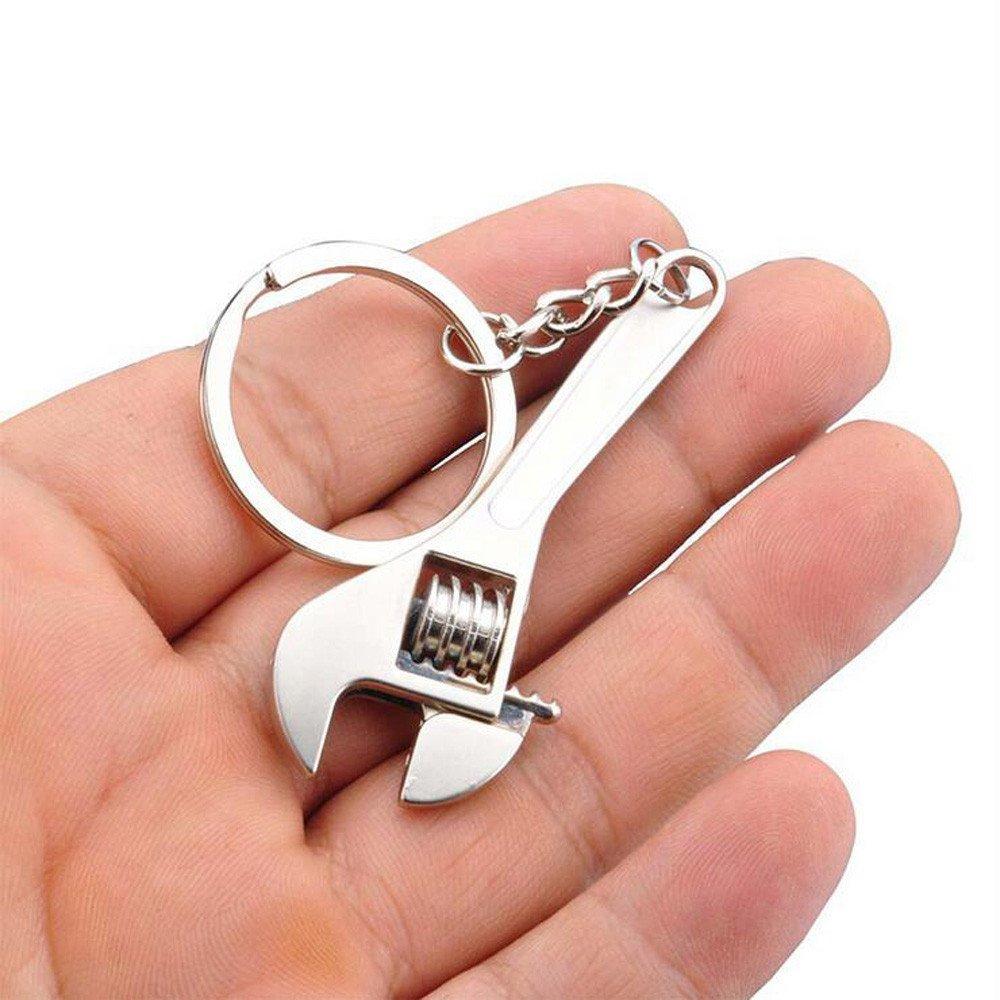 HANANei Creative Simulation Tool Wrench Spanner Key Chain Ring Keyring Metal Keychain Adjustable