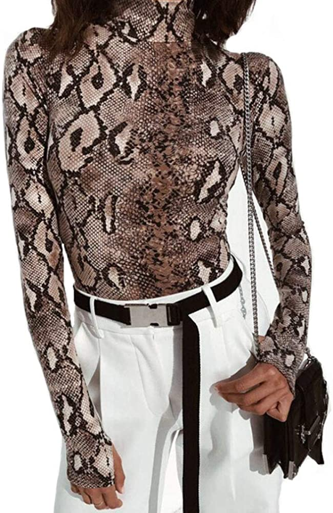 Womens Ladies Snake Skin Snake Print Top Long Sleeve Polo Neck Fashion Top 8-14