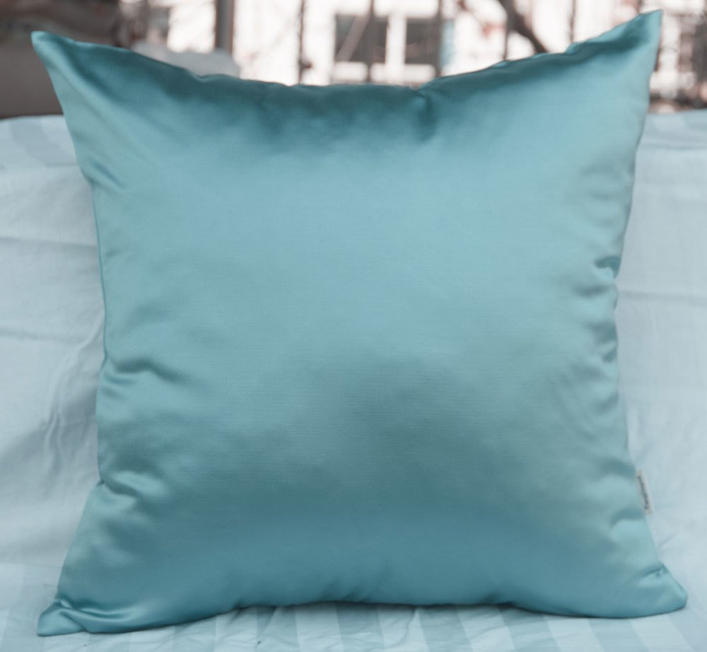 TangDepot Solid Heavy Satin Decorative Throw Pillow Cover, Pillow Shams, Square pillow covers, Cushion Covers, Pillowcase - (20''x20'', Light Teal Blue)