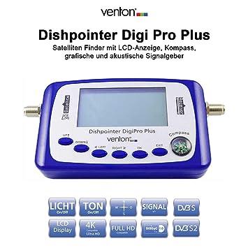 Venton dishpointer Digi Pro Plus Localizador Satelital con pantalla LCD, brújula y sonido digital satélite Finder para instalaciones Sat con reconocimiento ...