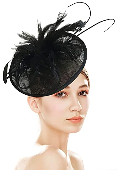 b419e7409f4 Z X Sinamay Fascinator with Headbad Feather Floral Pillbox Hat for Church  Race Black