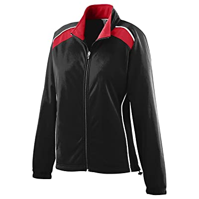 Augusta Sportswear Women's Brshd Tricot Tri-Color Jkt M Black/Red/White