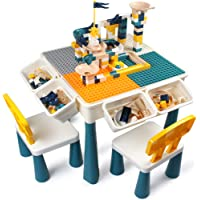 GobiDex 7-in-1 Multi Kids Activity Table Set with 2 Chairs and 100-Pieces Large Size Blocks