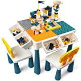 GobiDex 7 in 1 Multi Kids Activity Table Set with 2 Chairs and 100 Pcs Large Size Blocks Compatible with Classic Blocks.Water