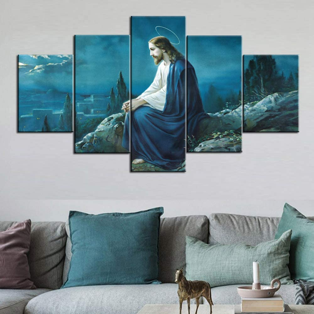Large Wall Paintings Framed Artwork The Prayer of Jesus Pictures 5 Panel Wall Art Typical Cahtolic Painting Print On Canvas Home Decor for Living Room Modern Stretched Ready To Hang(60''Wx32''H)