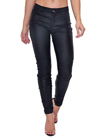 d16b0638dafd Woman s Trousers Wet Look High Waisted Faux Leather Jeans Biker ...