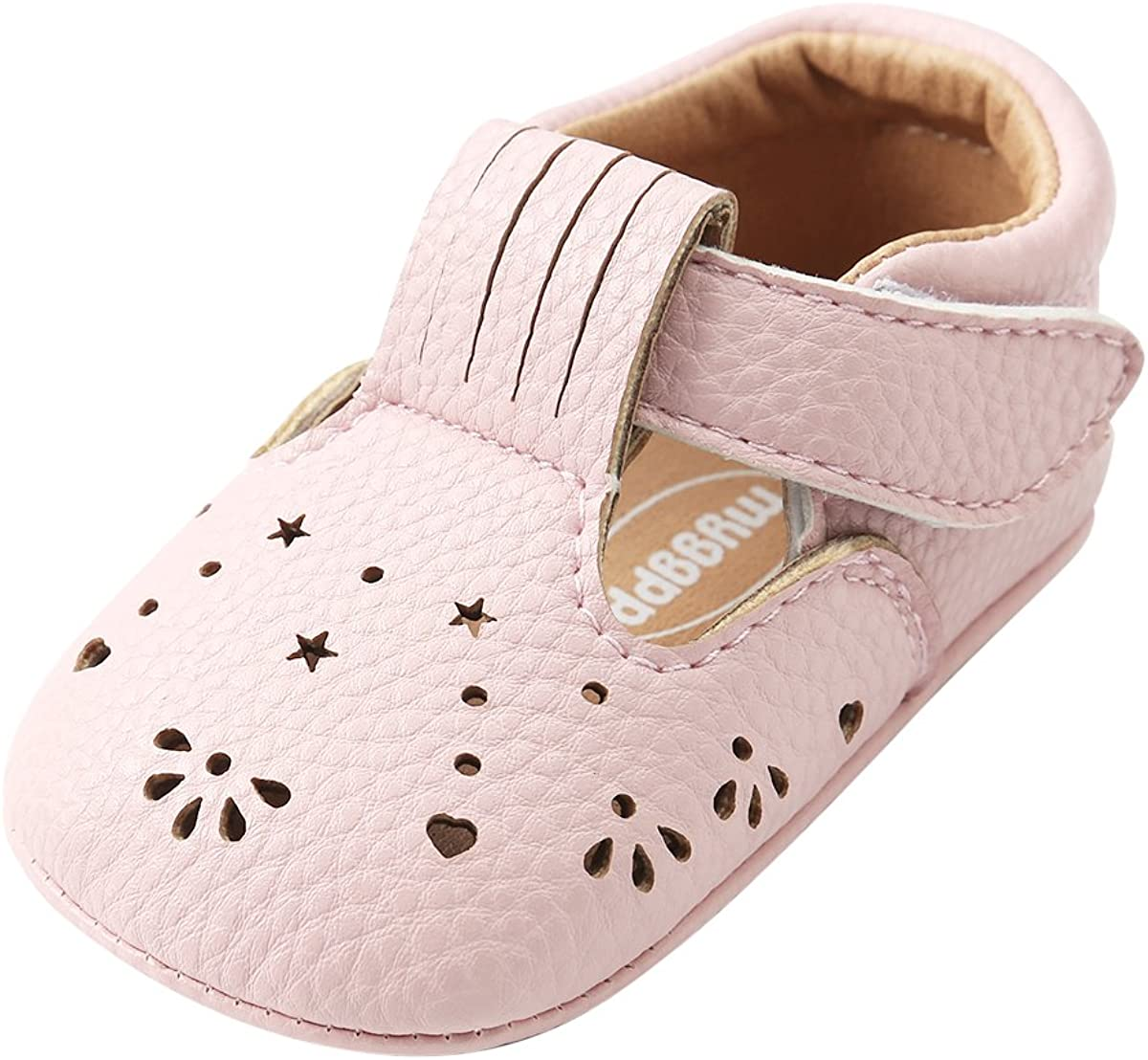 Kuner Baby Girls Pu Leather Embroidered Soft Bottom Non-Slip Princess Shoes First Walkers Shoes