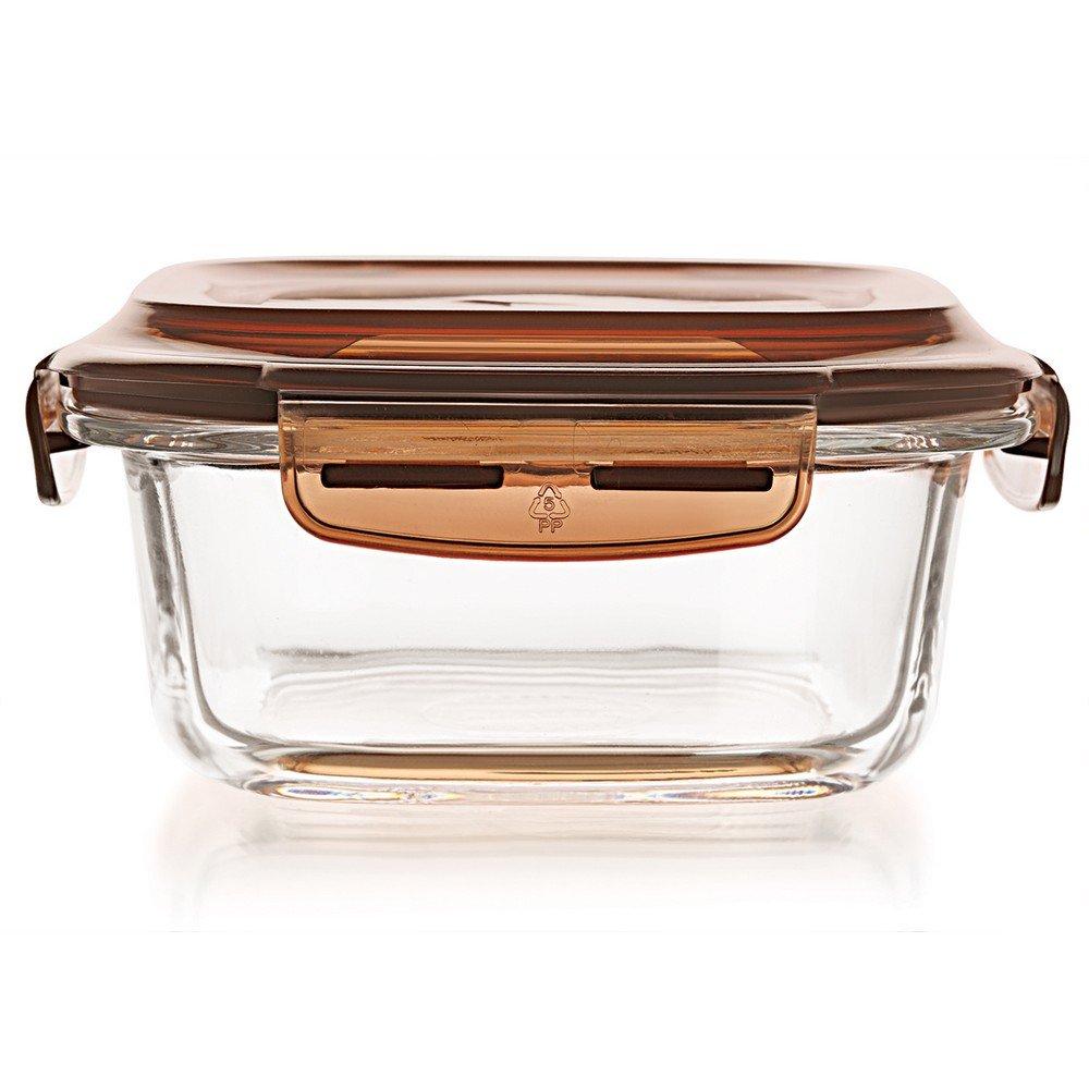 Cello Prego Veneto Square Glass Container with Lid, 440ml, Clear