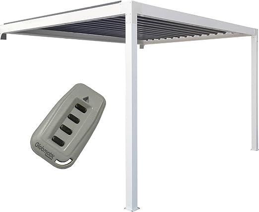 Priximbattable Pergola bioclimatique Promo en Aluminio adossée motorizada con LED – 4 x 3 m, Color Blanc ral 9016, tamaño 4000 x 3000 mm: Amazon.es: Jardín