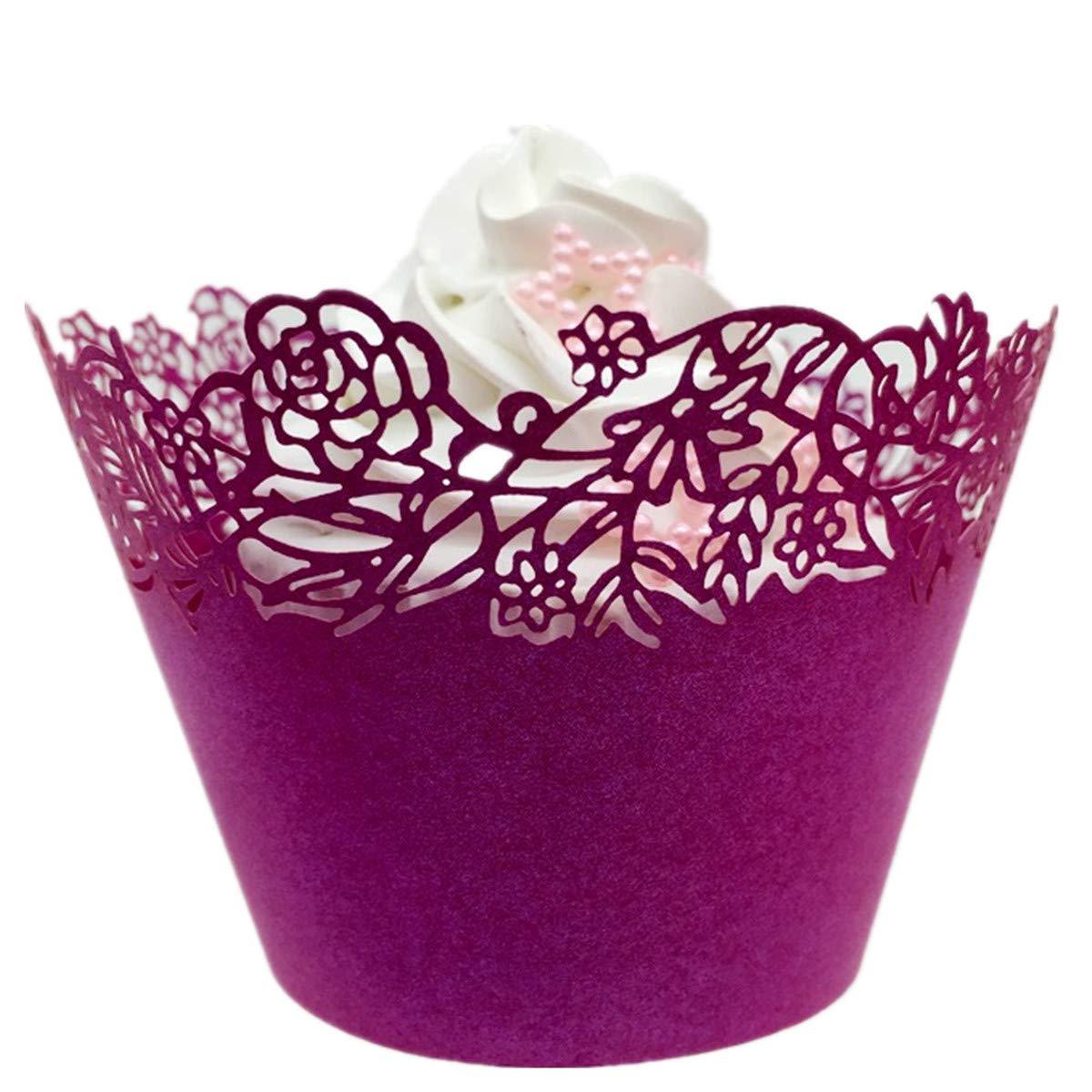 120 pcsレーザーカットカップケーキラッパーライナーベーキングカップマフィンケーストレイウェディング誕生日パーティー装飾 – Little Rose 3 1/4