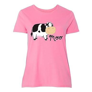 68bbca95d53 Amazon.com  inktastic - Moo says The Cow Women s Plus Size T-Shirt ...