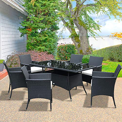 Outsunny Rattan Garden Dining Set 6-seater