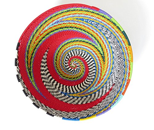 African Zulu Telephone Wire - African Zulu woven telephone wire bowl – Medium round - Red and multicolour - Gift from Africa