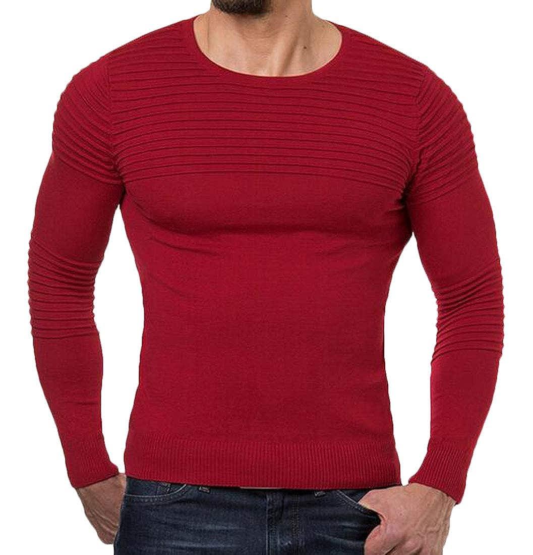 X-Future Mens Crewneck Long Sleeve Pullover Knitting Slim Basic Casual Sweater