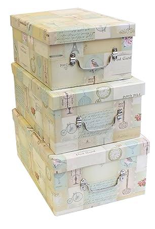 Set Of 3 U0027Vintage Postcardu0026quot; Design Cardboard Storage Boxes.