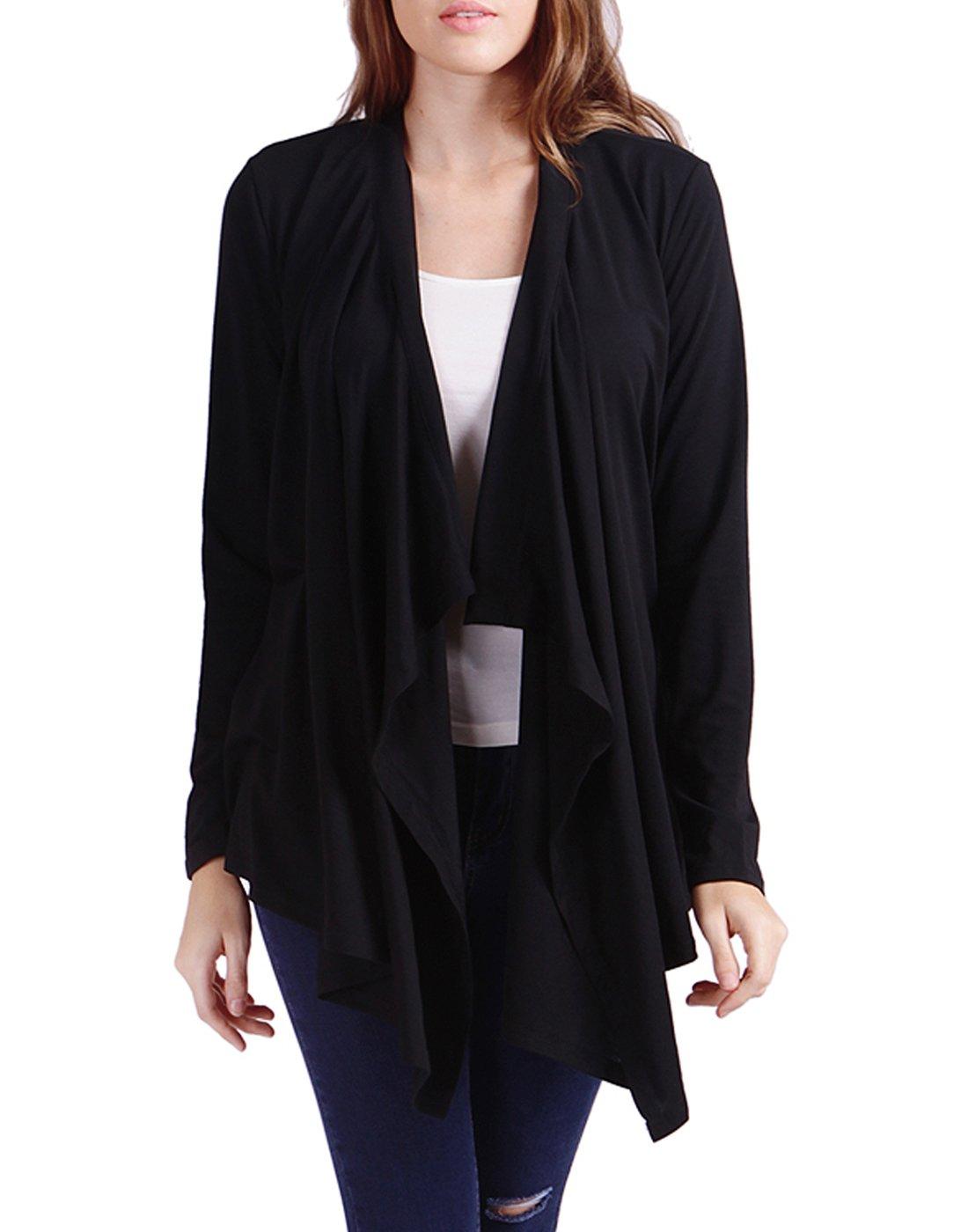HDE Women's Open Front Cardigan Sweater Long Sleeve Waterfall Drape Knit Wrap (Black),Large