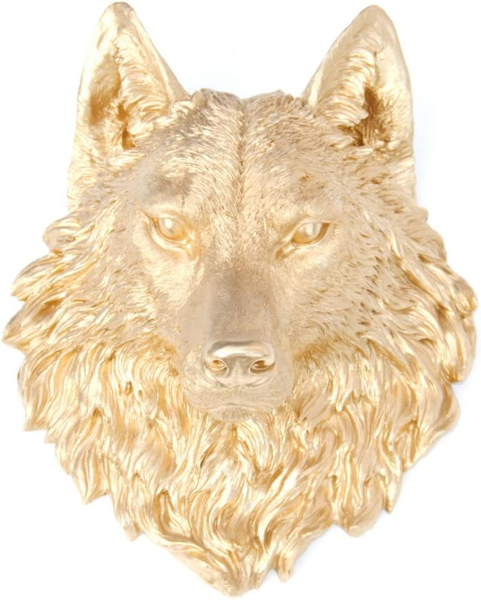 Near and Deer Faux Taxidermy Wolf Head Wall Mount, Gold