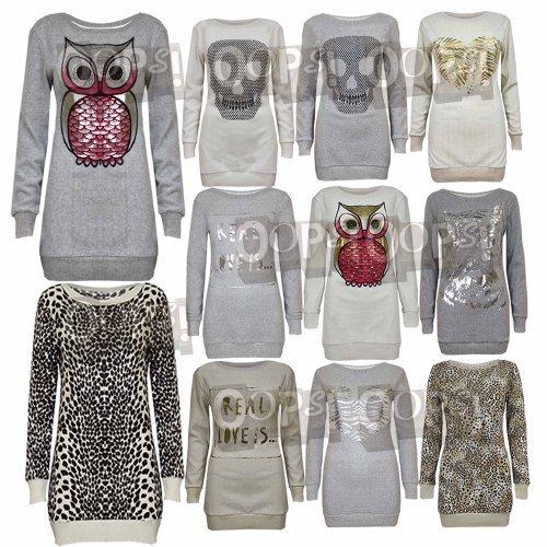 Oops Outlet Mujer Calavera Búho Leopardo Manga Larga Suéter Pulóver Jersey Sudadera: Amazon.es: Ropa y accesorios