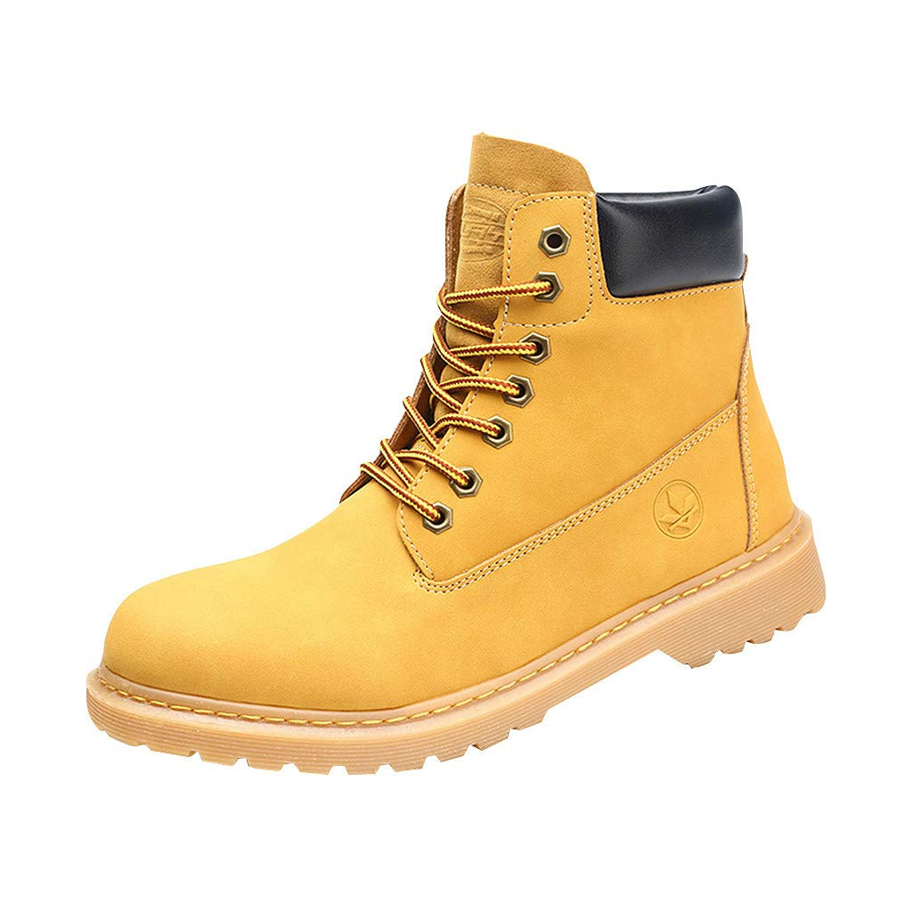 IEasⓄn Women Boots ,Unisex Couple Plus Size Round Toe Casual Shoes Lace up High Help Shoes Yellow
