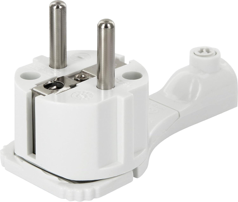 Superslim Schutzkontakt-Winkelstecker - extraflach 8mm - mit Klappgriff und Knickschutz - 250V 16A - für Kabel bis 3x1, 5 mm² - weiß HAVA