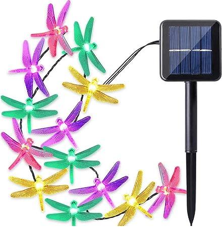 20//30LED Solar Powered Dragonfly String Lights Fairy Garden Yard Lamp Decors