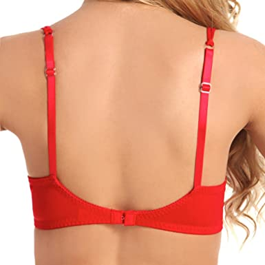 83da0a3e917b56 Amazon.com  Scalloped Embroidery Shelf Bra w Underwire Support and  Adjustable Straps Red 38  Clothing