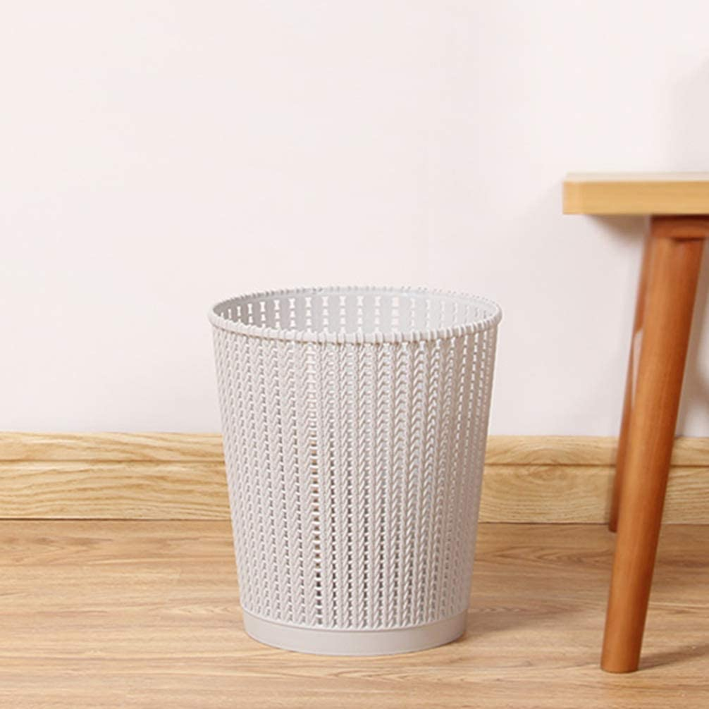 Mini Open Wastebasket Plastic Mesh Trash Can Dustbin Garbage Can Litter Container for Desktop (Grey)