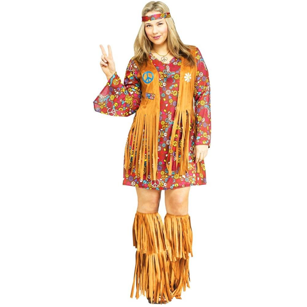 Plus Size Peace and Love Hippie Costume. SIze 20-24