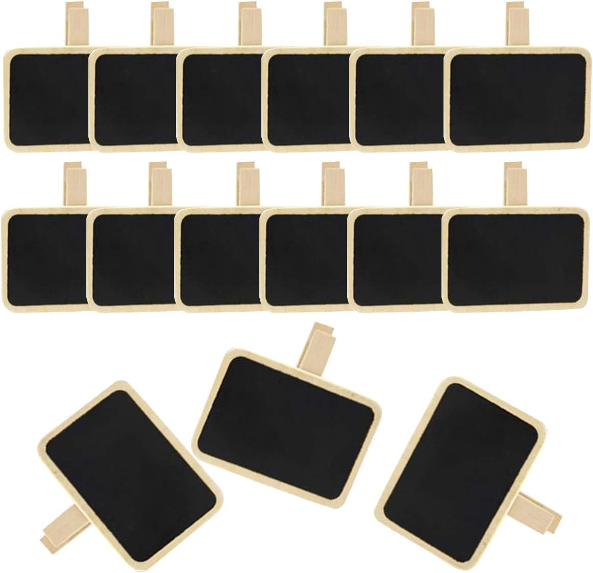 Pack of 24 Erasable Chalkboard Signs with Clip, Small Mini Chalkboard Label Clips Message Memo Boards Clips