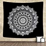 Ucio Tapestry, Bohemian Home Tapestry Wall Hanging Art Home Decor, Wall Hanging Tapestry Compatible with Bedroom Living Room Dorm Beach Throw (Black-White, W:59'' H:58'')