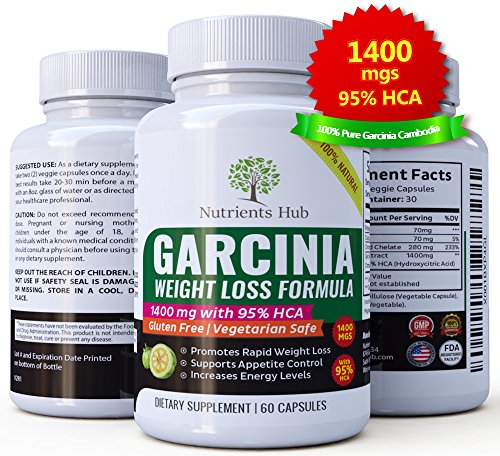 Nutrients Hub 100% Pure Garcinia Cambogia 1400mgs – 95% HCA Extract 60 Veggie Weight Loss pills, Natural Appetite Suppressant, Carb Blocker and Fat Burner Weight Loss Supplement for Women & Men