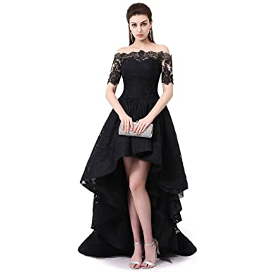 db654b5cf97 Sexy Women Lace Short Front Long Back Off The Shoulder Beautiful Evening  Cocktail Dress Prom Gowns