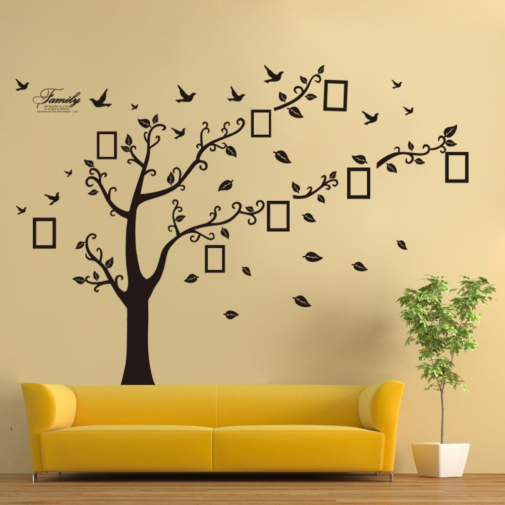 Dearm-home® 6'(h) X 9'(w) Huge Size Family Photo Frame Tree Quote Picture Removable Wall Decor Art Stickers Vinyl Decals Home Decor Include 11birds for Living Room&bedroom QLAN 6102770