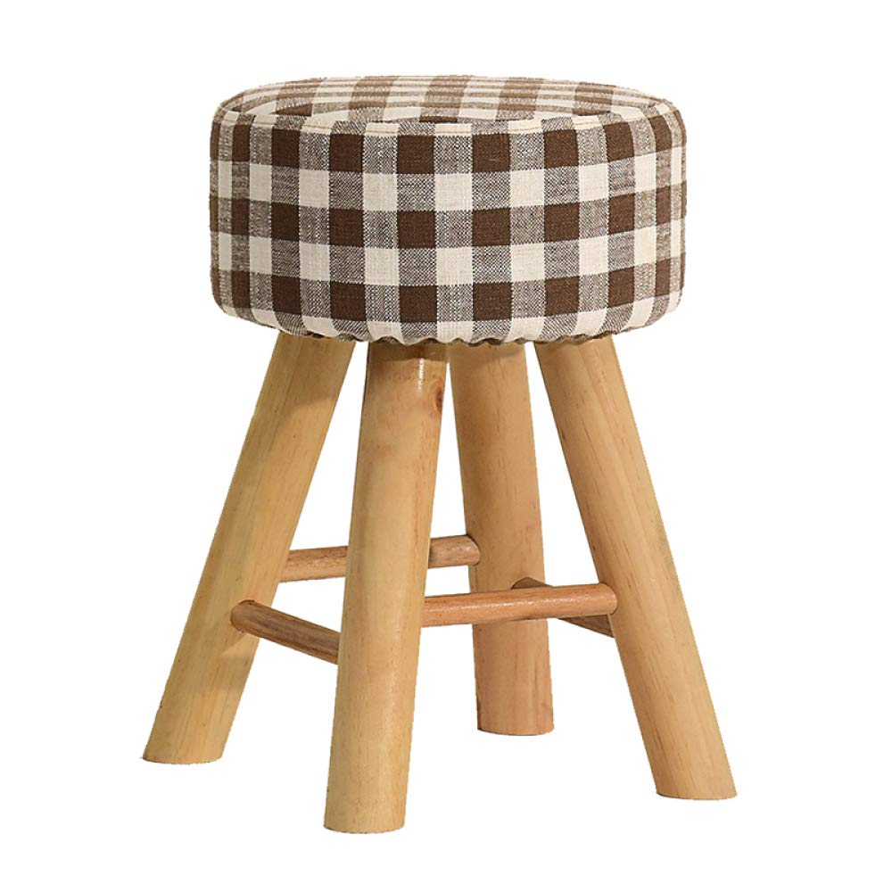 D Wood Stool, Dressing Stool, Wood Support Upholstered Footstool, Solid Wood shoes Bench, Makeup Vanity Stool, Linen Stool, Sofa Bench, Simple Fabric Stool, Creative shoes Bench