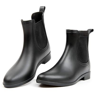 Outee Women Short Ankle Rain Boots Solid Matte Black   Rain Footwear