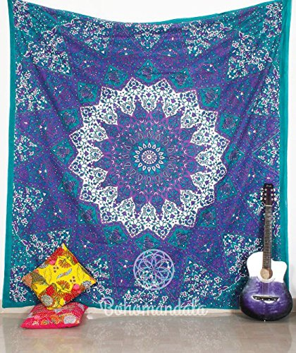 Indian Ombre Mandala Star Indian Traditional Boho Large Abstract Meditation Art Cotton 100% Handmade Crafted Vintage Mandala Bohemian Tapesty Wall Hanging Art Decorative Beach Sheet Throw Bedding Dorm