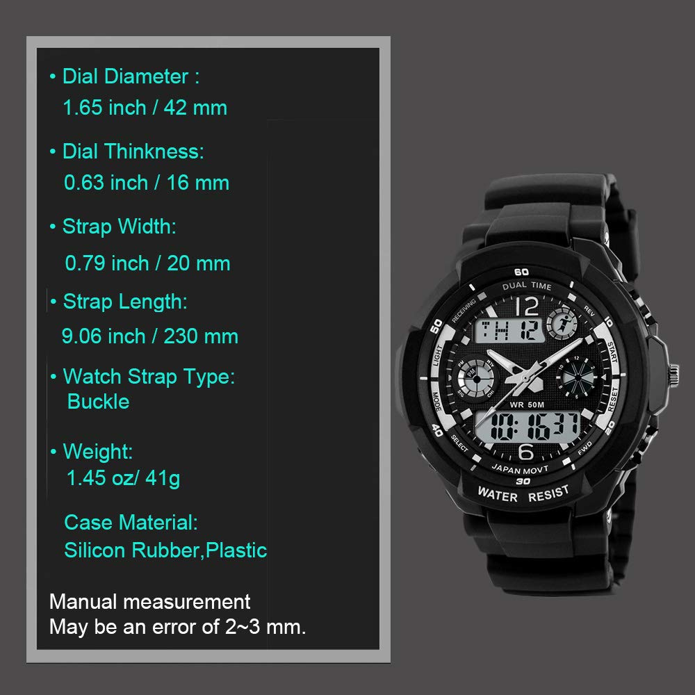 Reloj Deportivo Digital Electrónico Resistente Al Agua para Niño ; Reloj con Cronómetro, Alarma, Temporizador, Luz LED, Cronógrafo