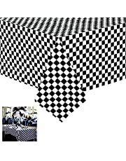 """Newthinking Black and White Checkered Plastic Tablecloths, 2 Pack Disposable Plastic Party Table Covers, 54"""" X 108"""" Racing Party Decoration"""