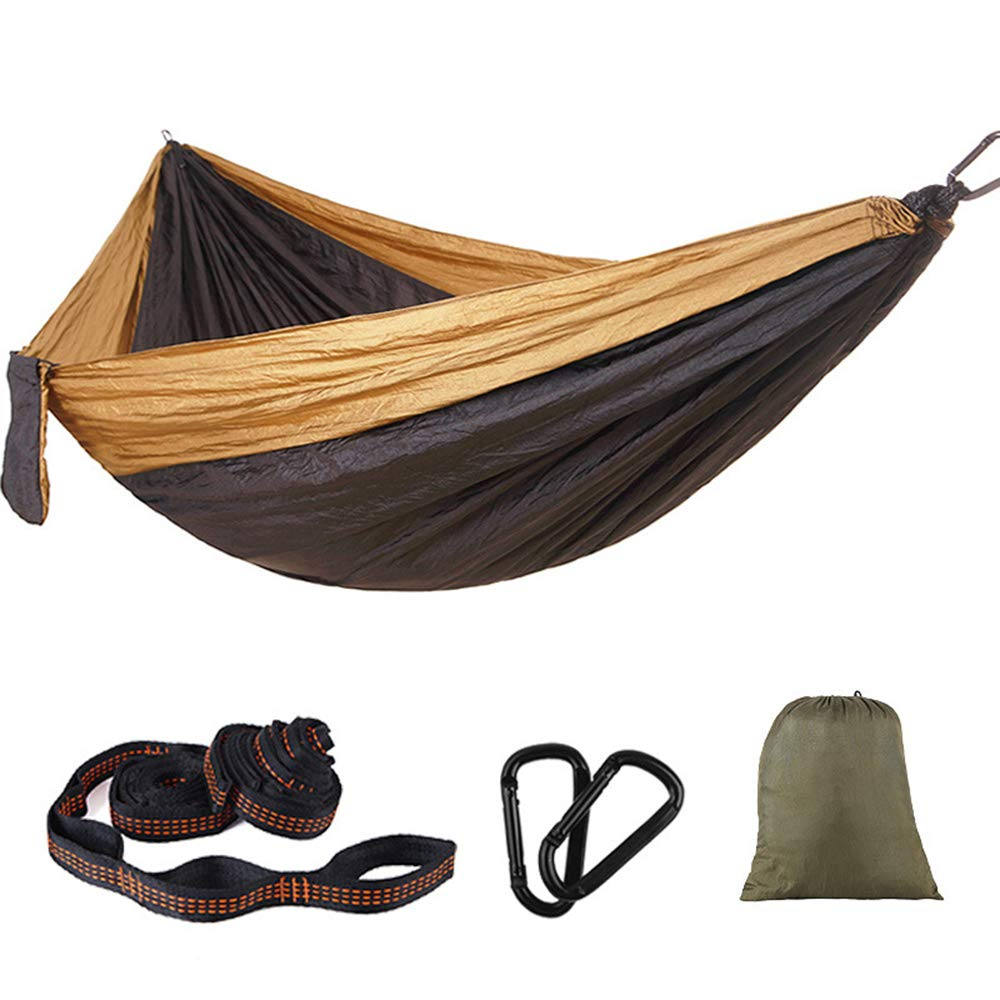 Oufiyap Outdoor Camping Swing Hammock 300200 Double Lengthening Widening Ultralight Supplies Parachute Cloth Hammock (Camel Black) by Oufiyap