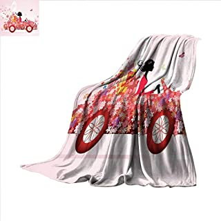 ALLMILL Cars Digital Printing Blanket Girl on a Car with Floral Present Boxes Butterflies Daisies Little Hearts Summer Quilt Comforter 60'x50' Pink Dark Coral Black
