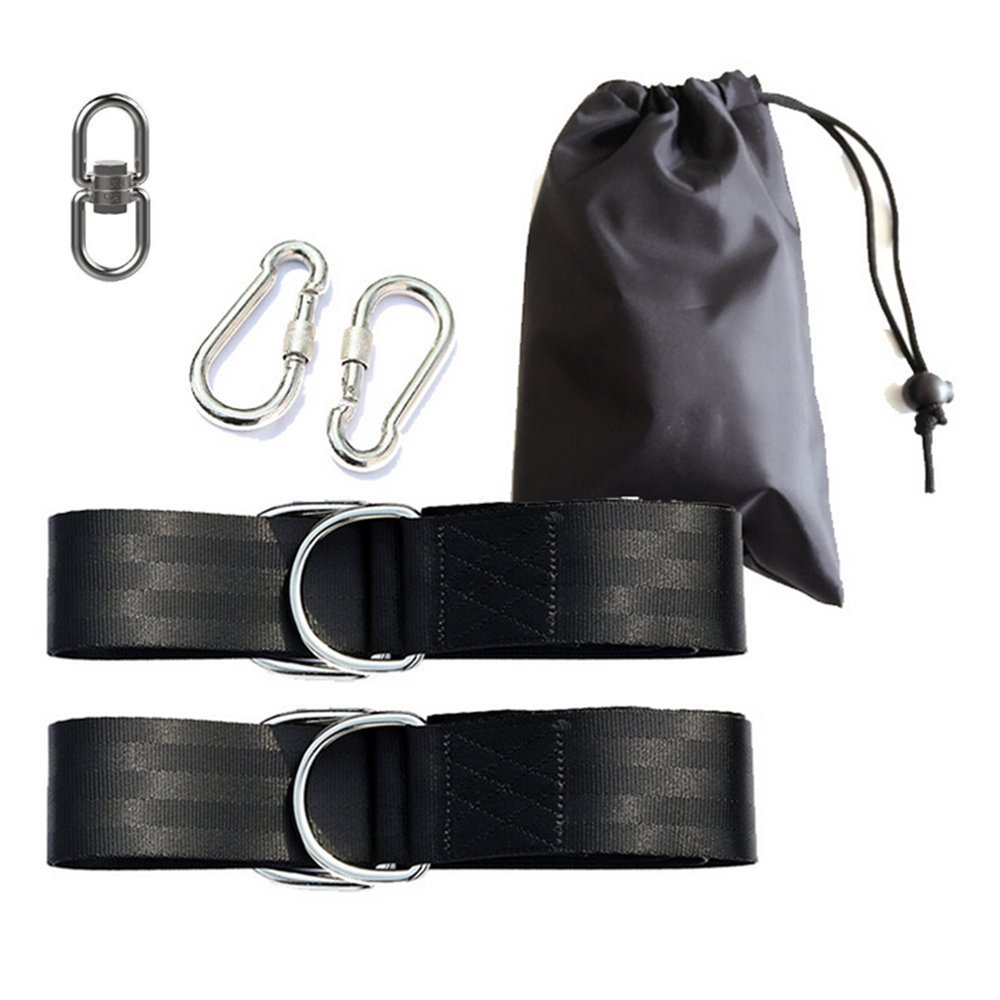 WERTYCITY Easy Hang Tree Swing Straps Kit - Holds 2200lbs, with Heavy Duty Carabiner, Swivel Hook - Perfect for Tire, Saucer Swings, Hammocks & Most Swing Seats - 100% Waterproof - Carry Bag Included