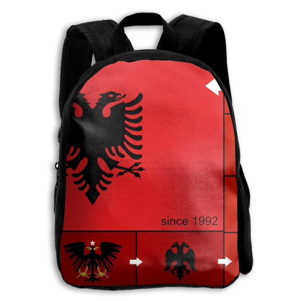 fidaljfアルバニアフラグ歴史とEvolution子供の3dプリントファスナー付き旅行バッグ学校バックパック B07DN9MPJP