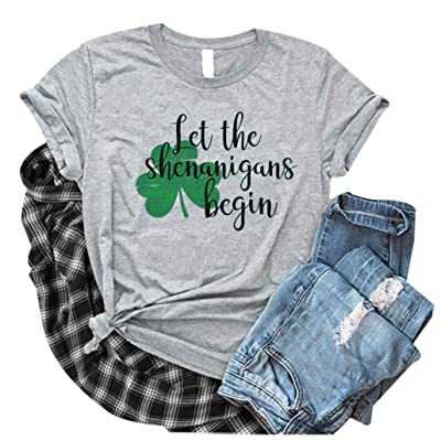 Sassy Lassie Shirts St Patricks Day Shirt Women Sparkly Shamrock Graphic Short Sleeve Lucky Paddy Shirts: Clothing