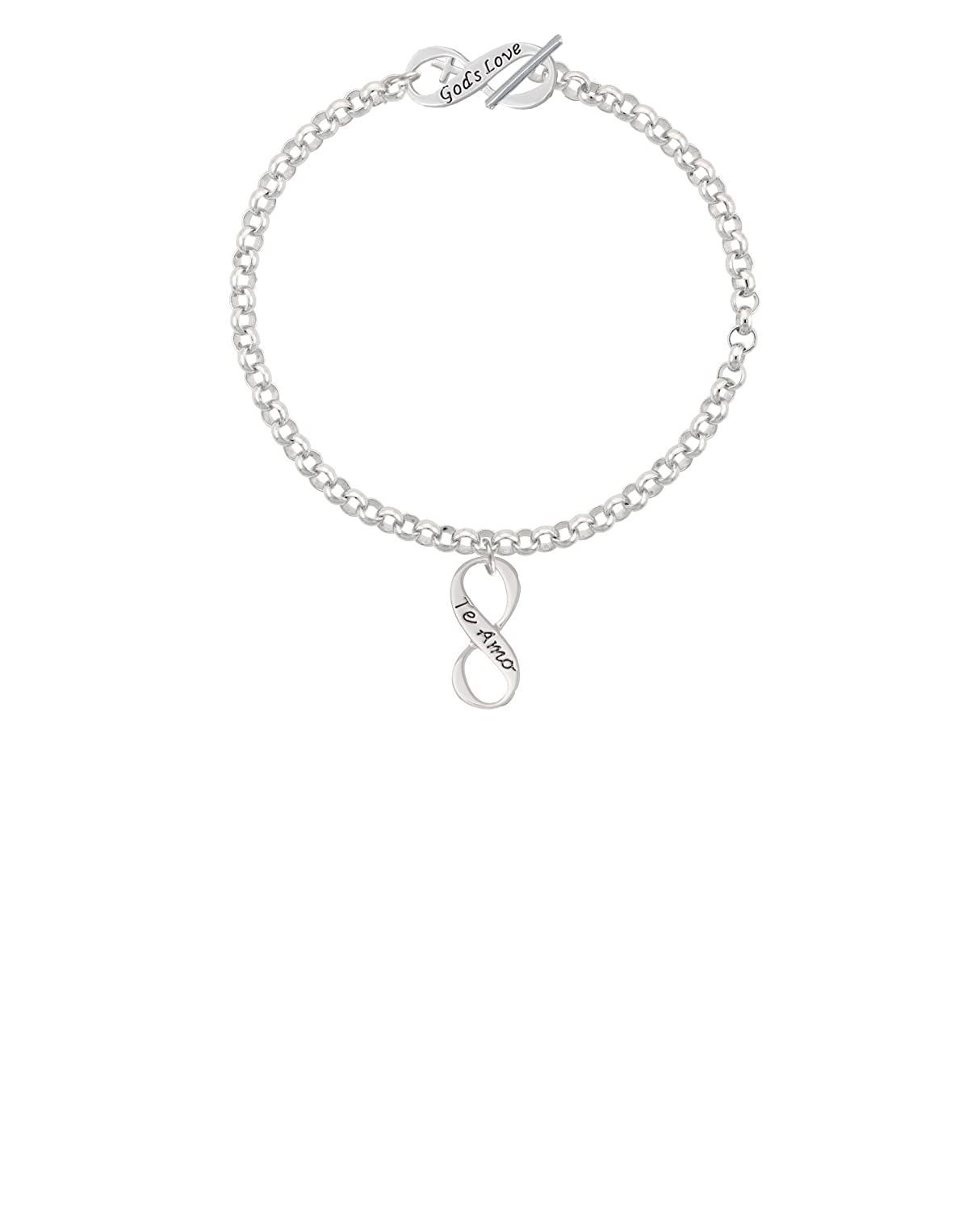 8 Silvertone Te Amo Infinity Sign Gods Love Infinity Toggle Chain Bracelet
