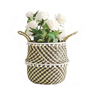 Amazon.com: Cesta de mimbre para flores Libobobo-Seagrass ...