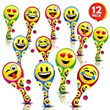 ArtCreativity Assorted Emoji Paddle Balls (Pack of 12) | Paddleball with String | Variety of Dynamic Multi-colored Prints | Fun Party Favor, Packed Separately | Amazing Gift Idea for Boys and Girls