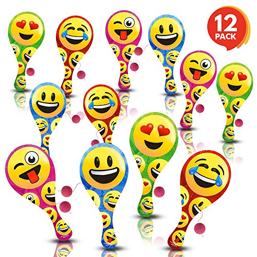 ArtCreativity Assorted Emoji Paddle Balls (Pack of 12) | Paddleball with String | Variety of Dynamic Multi-colored Prints | Fun Party Favor, Packed Separately | Amazing Gift Idea for Boys and Girls by ArtCreativity