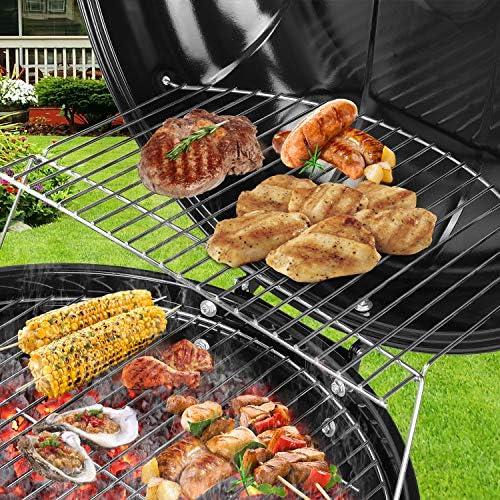 Femor Barbecue à Charbon de Bois 22'' Ø 57 cm BBQ Grill Ronde en Émail Noir FUMOIR Smoker Mobile à roulettes Système d'aération avec Couvercle Réversible et Thermomètre intégré pour Camping au Jardin